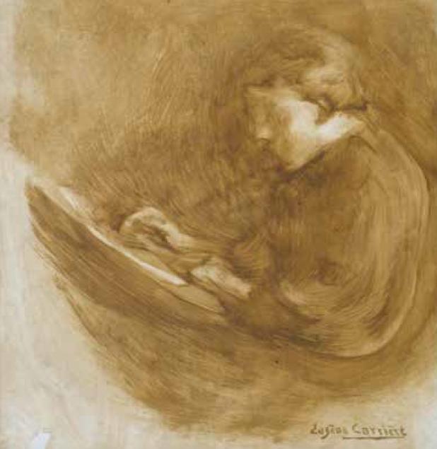 Eugène Carrière (1849-1906) : René Carrière dessinant. Huile sur toile, 1880. Musée des Avelines, Saint-Cloud, inv. 69.1.6.